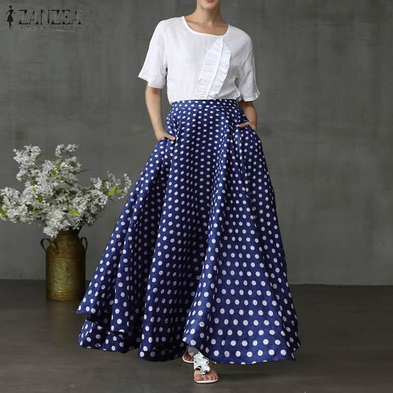 ZANZEA Women Bohemian Polka Dot Skirt 2020 Vintage Ladies Long Maxi Pockets Skirts Back Zipper Up Pockets Jupe Faldas Plus Size