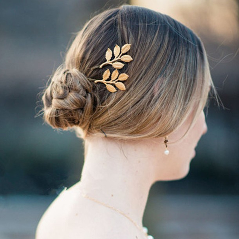 HZ 2019 Fashion Fairy Elegant Leaves Barrettes Sweet Golden Hairpin Hair Grip  Hair Clips Hair Accessories For Women Wedding