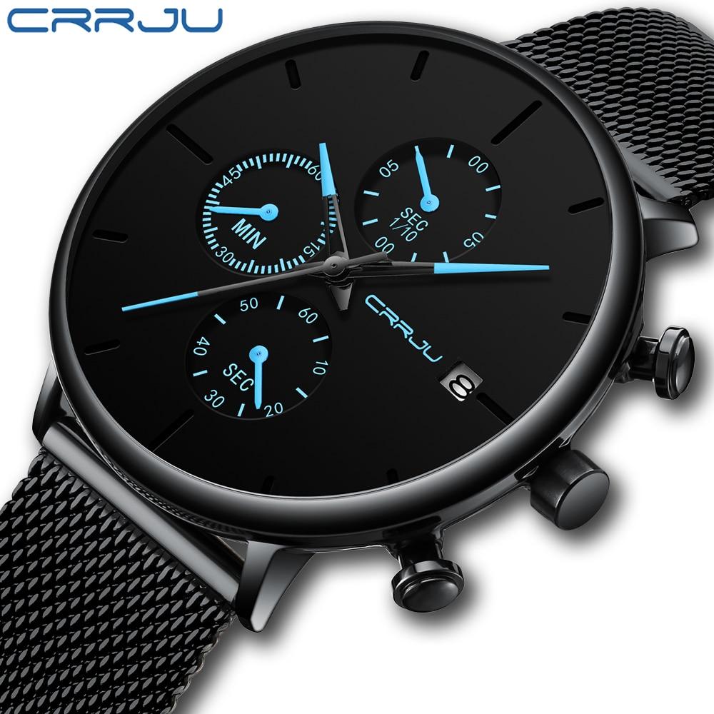 CRRJU men watches top brand Luxury business watch Fashion Casual wristWatch mesh steel Waterproof Quartz date male clock reloj