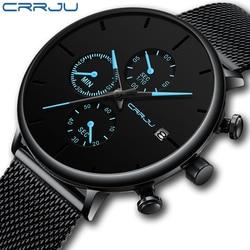 Crrju relógios masculinos marca de luxo relógio de pulso moda casual malha aço à prova dwaterproof água quartzo data masculino reloj