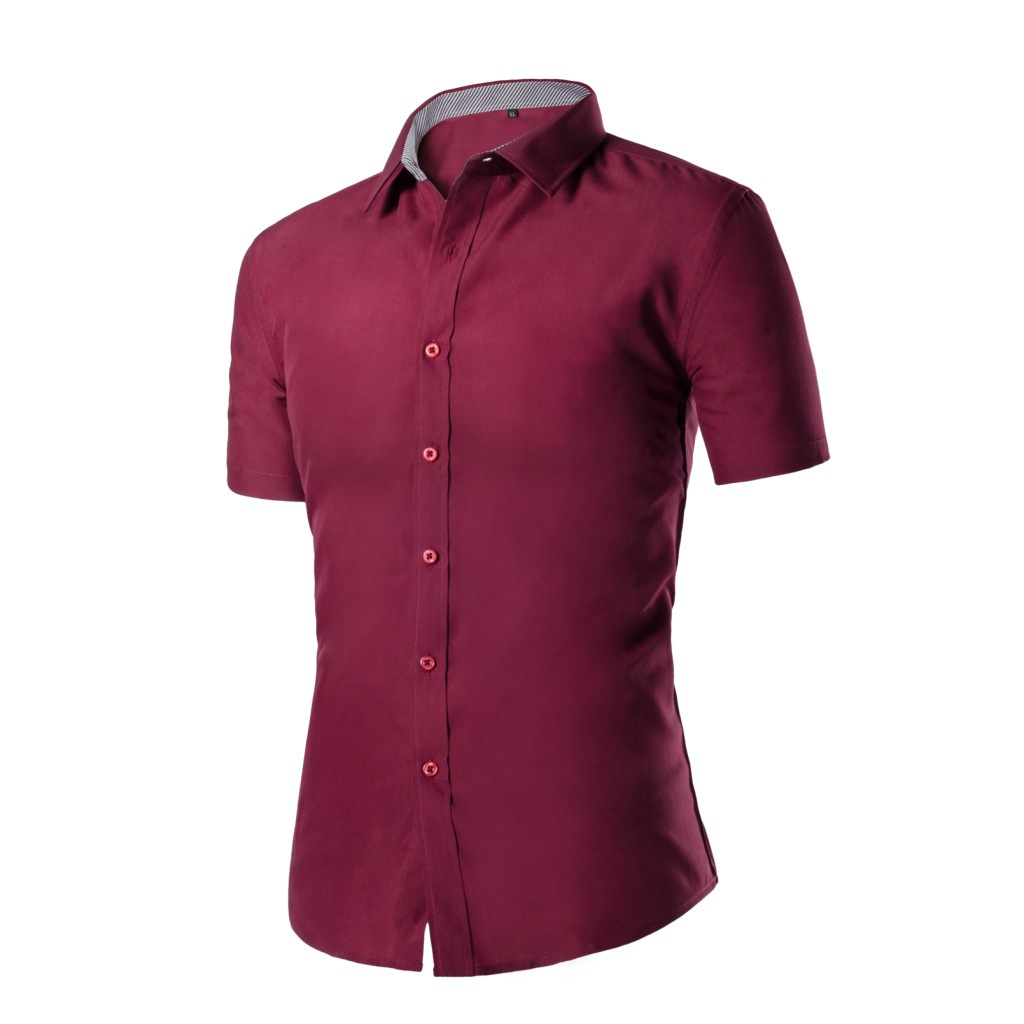 Men's  Simple Cotton Solid Color Casual  Summer Men's Youth Short-sleeved Shirt