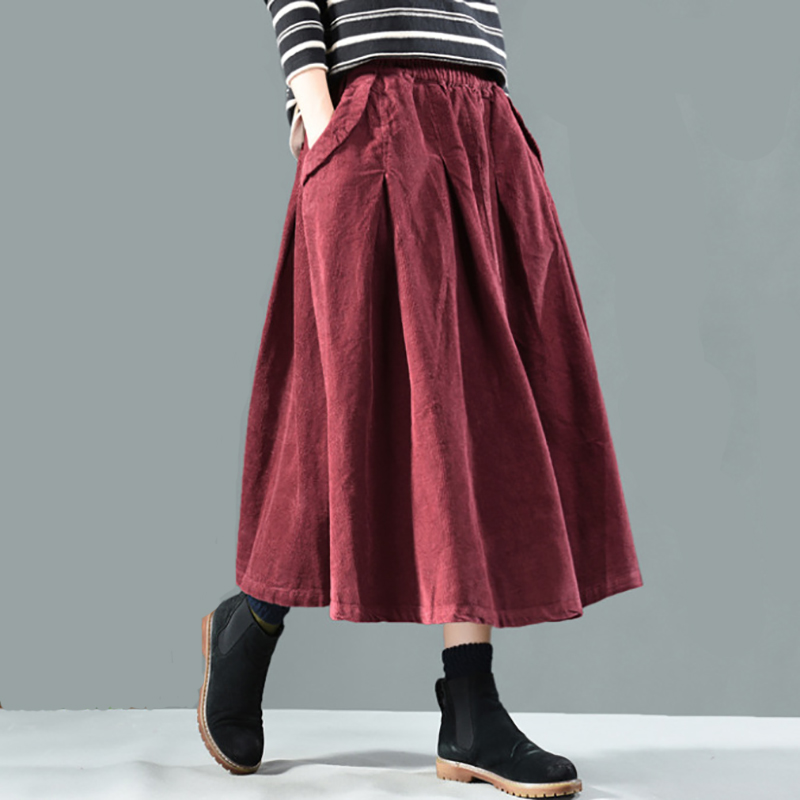 Autumn Winter Skirt Women Retro Loose Corduroy Casual Skirt 2019 New Elastic Waist Pocket Vintage Female Solid Color Skirt