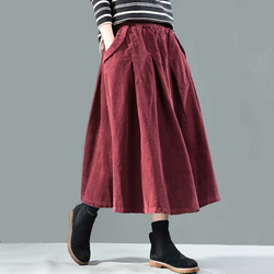 Autumn Winter Skirt Women Retro Loose Corduroy Casual Skirt 2019 New Elastic Waist Pocket Vintage Female Solid Color Skirt
