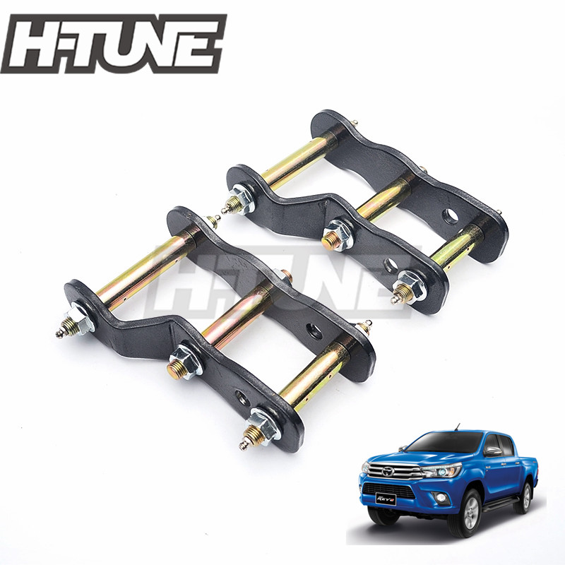 H TUNE 4x4 Accesorios 2 Rear Suspension Spring Extended Greasable Shackles Kits For Hilux REVO 2015
