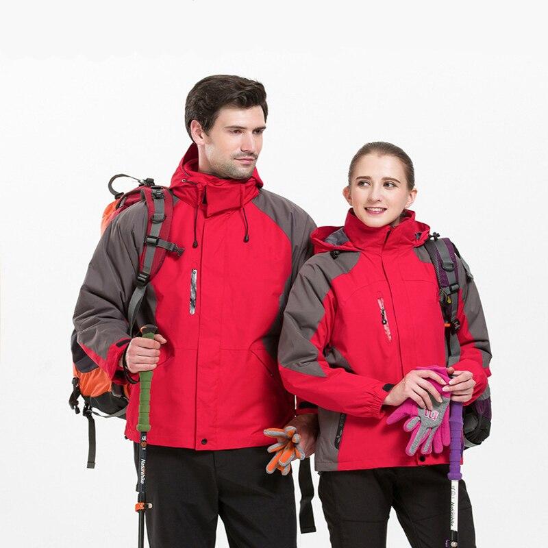 Hiking Waterproof Jacket Outdoor Men Women Fleece Softshell Hunting Ski Suit Windproof Camping Mountaineering Warm Winter Coat