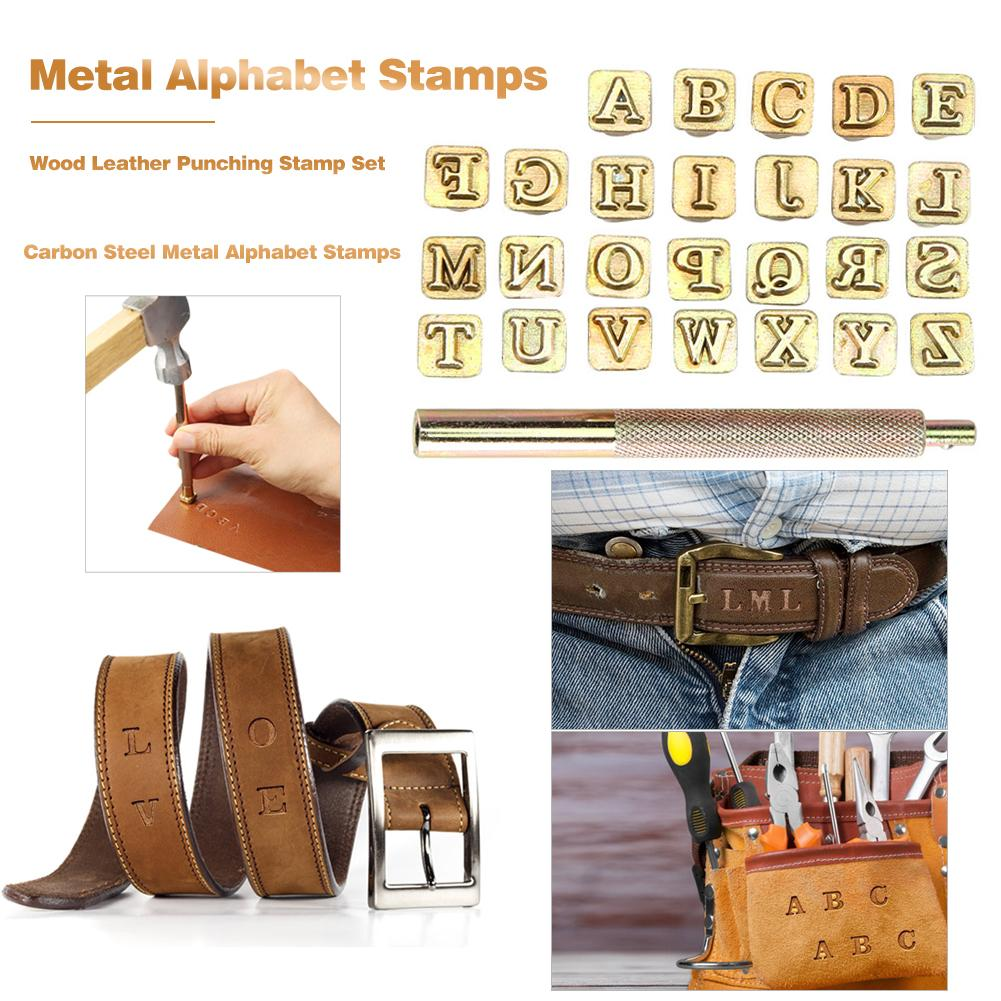 6mm Carbon Steel Punching Gold Alphabet Stamper Letter Stamping Set Metals Leather Wood Tools Leather Stamping Crafts