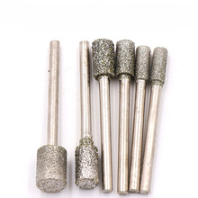 1PCS Grit60 3MM Shank Cylinder Diamond Grinding Head Cylindrical Points Coated Carving Burrs Lapidary Tools Jade Stone Marble