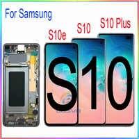 Dla samsung S10 G973F G973 LCD S10e ekran S10 Plus G975 G975F wyświetlacz z dotykowy digitizer z montaż ramy