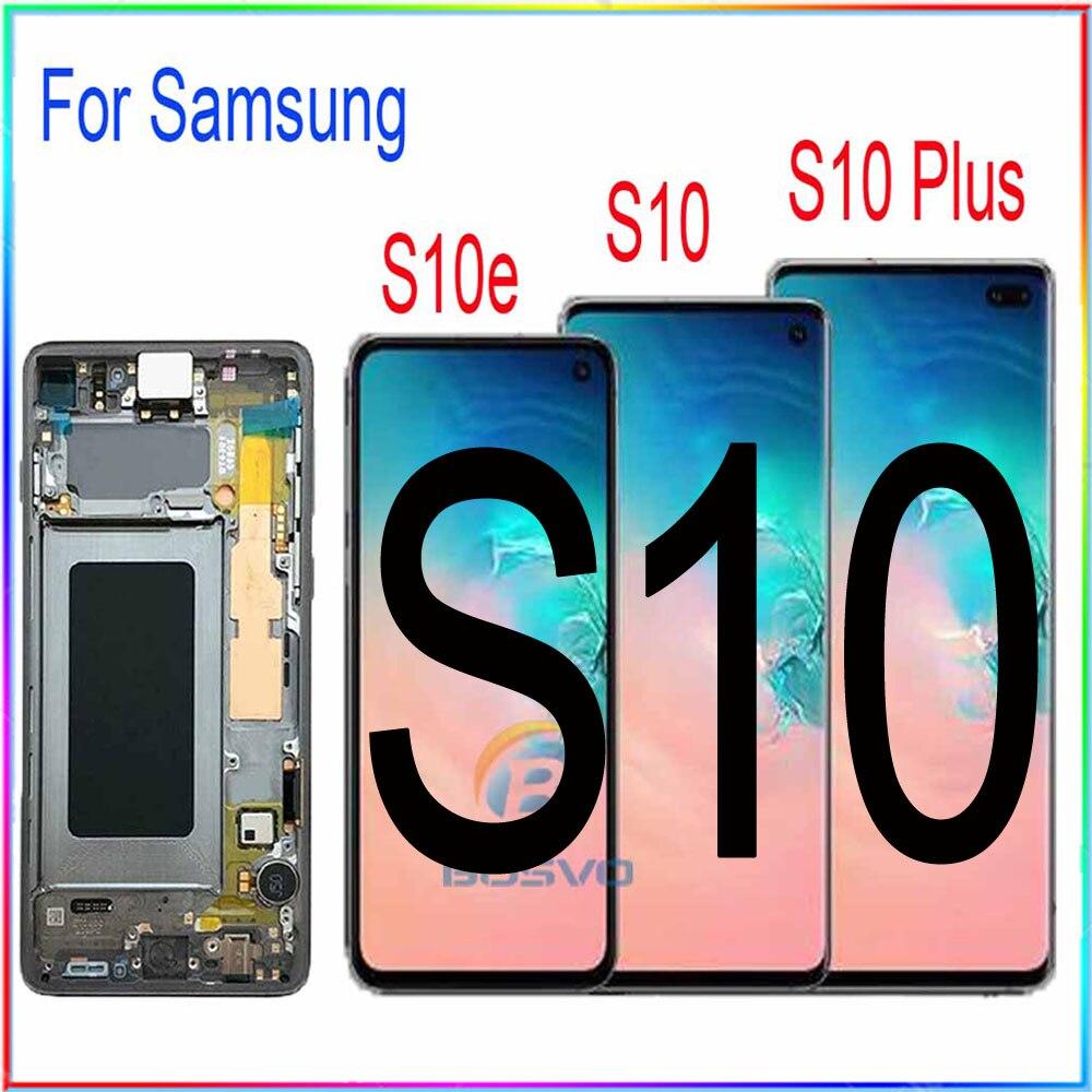 Için samsung S10 G973F G973 LCD S10e ekran S10 artı G975 G975F ekran dokunmatik Digitizer çerçeve meclisi ile