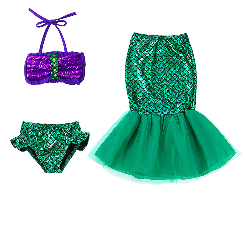 Little Girls Princess Ariel Mermaid Dress Kids Cosplay Costume Fancy Green Dresses Halloween Christmas Birthday Party Clothes