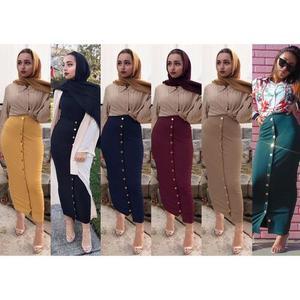 Image 2 - Falda larga de estilo musulmán para mujer, falda larga de estilo lápiz con botones, de cintura alta, estilo Abaya de Oriente Medio, estilo islámico, de Dubái