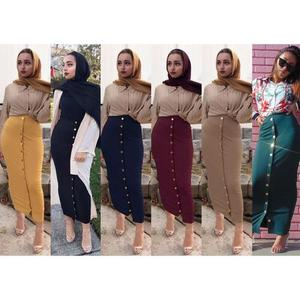 Image 2 - Muslim Women Long Maxi Skirt Bodycon Pencil Dubai Skirts Fashion Buttoms High Waist Middle East Abaya Sheath Long Skirt Islamic