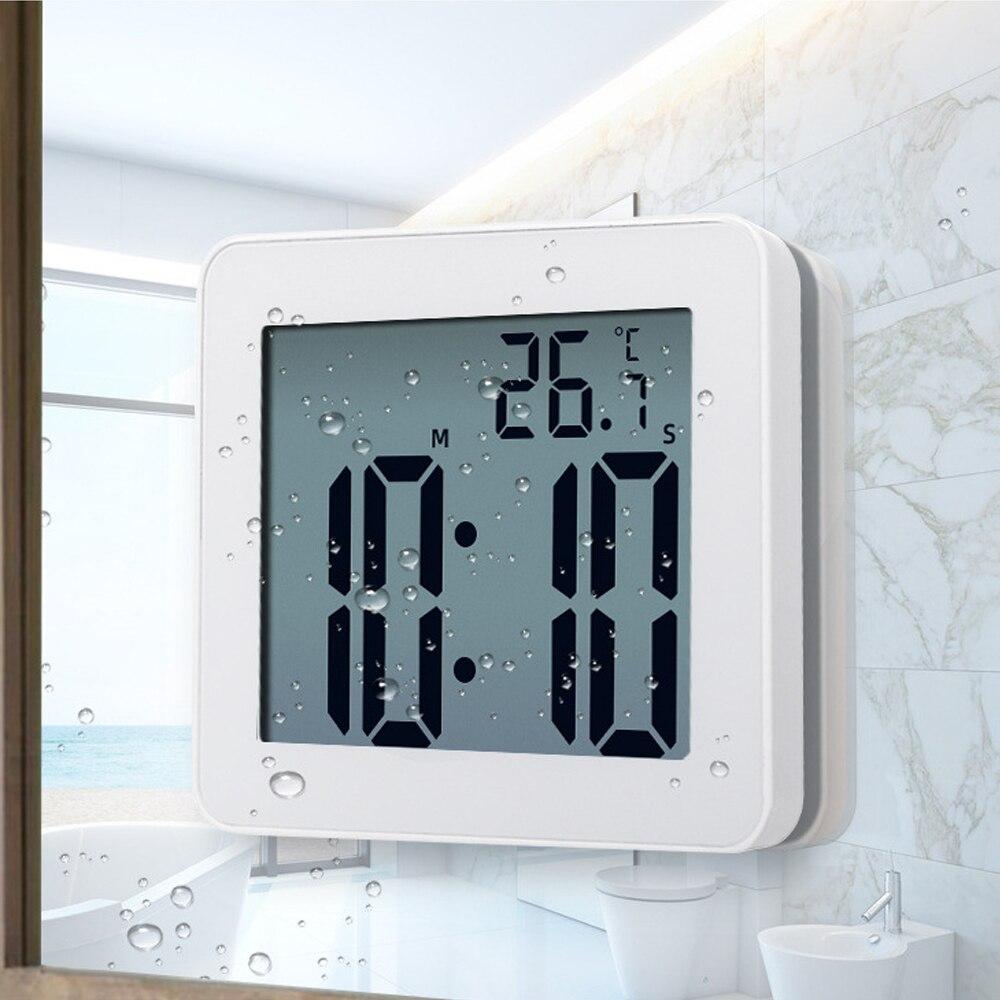 Digital Bathroom Clocks Simple LCD Electronic Alarm Clock Waterproof Watches Temperature Bathroom Alarm Clocks Hanging Timer