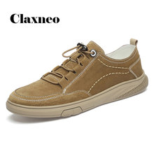 Man Shoe Suede Leather Mens Sneakers Leisure Shoe Walking Footwear Elastic Band CLAXNEO 2020 Spring Autumn New