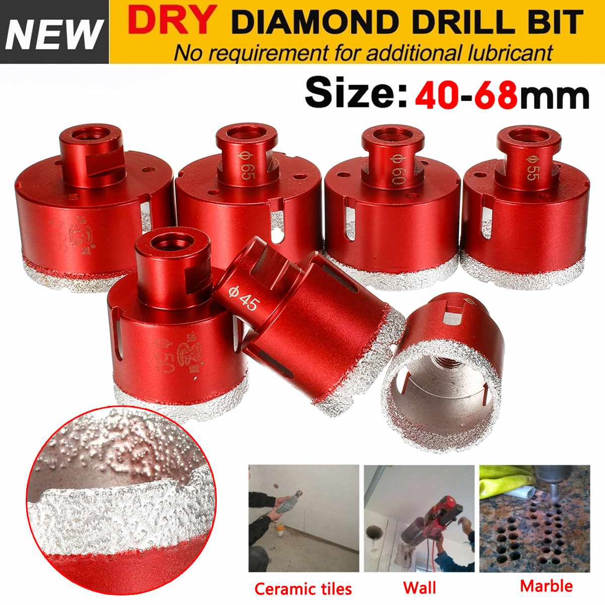 Doersupp 40-68mm M14 Marble Opener Diamond Drill Core Bits Drilling Hole Saw Tools For Tile Marble Granite Stone Concrete Drill