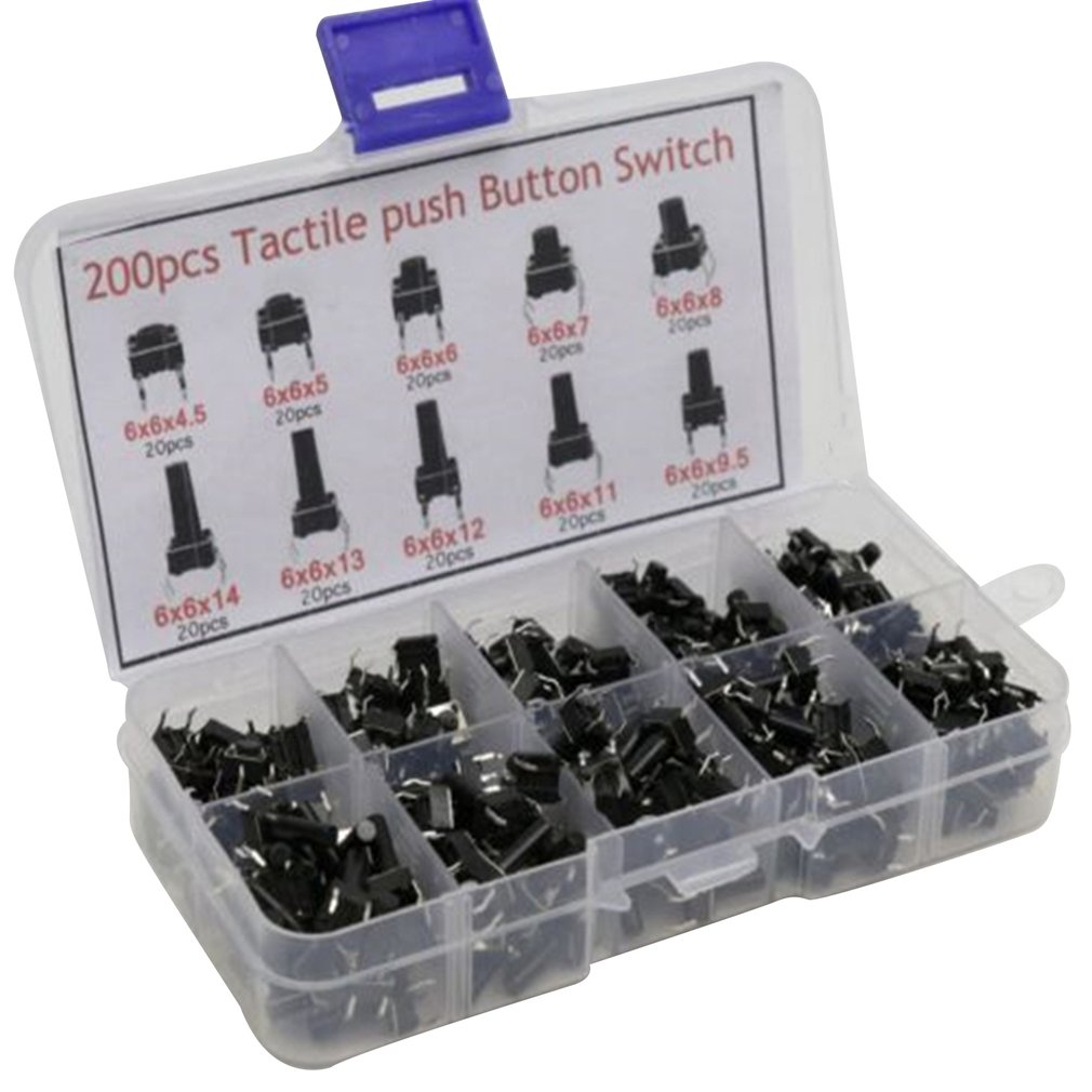 10 Models 100pcs/200pcs 6*6 Tact Switch Tactile Push Button Switch Kit Height: 4.3MM~13MM DIP 4P Micro Switch 6x6 Key Switch