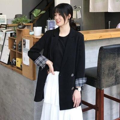 2020 Korean Women Black Blazer Loose Suit Double Breasted Pockets Office Lady Women Blazers And Jackets Winter Blazer