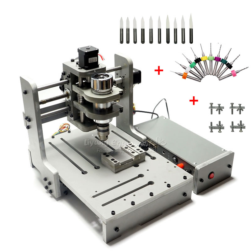 DIY Mini 3020 CNC Lathe PCB Milling Cutter Machine 3axis 300W For Woodworking With 10pcs PCB Drill Tool Kit China