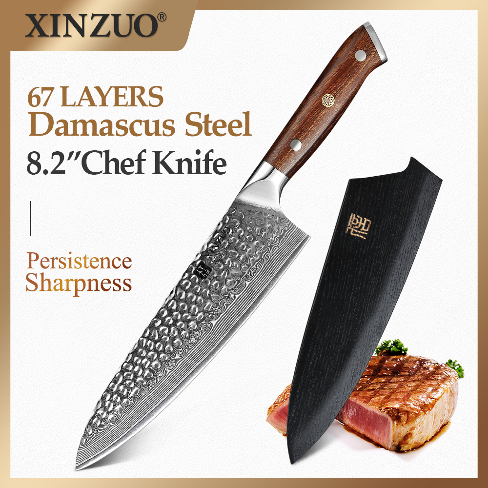XINZUO 8.2''Gyuto Chef Knife 60±2 HRC Japanese Damascus Steel Kitchen Cooking Tools Chef's Knives North America Desert Ironwood