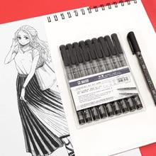 STA 10Pcs Tip Fine Liner Art Marker Drawing Pen Fade Proof Micron Black Sketch Water Marker Pen for Manga Office School Set