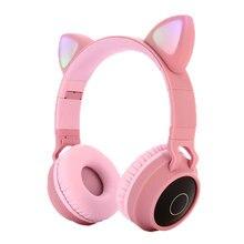 แมวน่ารักบลูทูธ5.0ชุดหูฟังไร้สายHifiสเตอริโอเบสหูฟังLED Lightโทรศัพท์มือถือลูกสาวสาวชุดหูฟังสำหรับPC