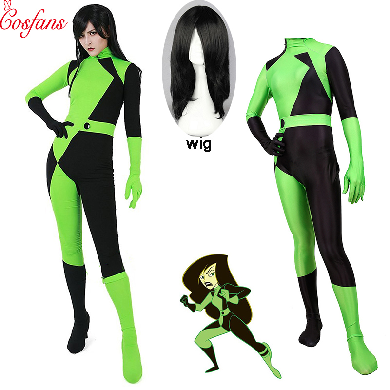 Super Villain Kim Possible Shego Costume Female Halloween Costume Lycra Spandex Zentai Suit Shego Cosplay Costumes And Wig Kids