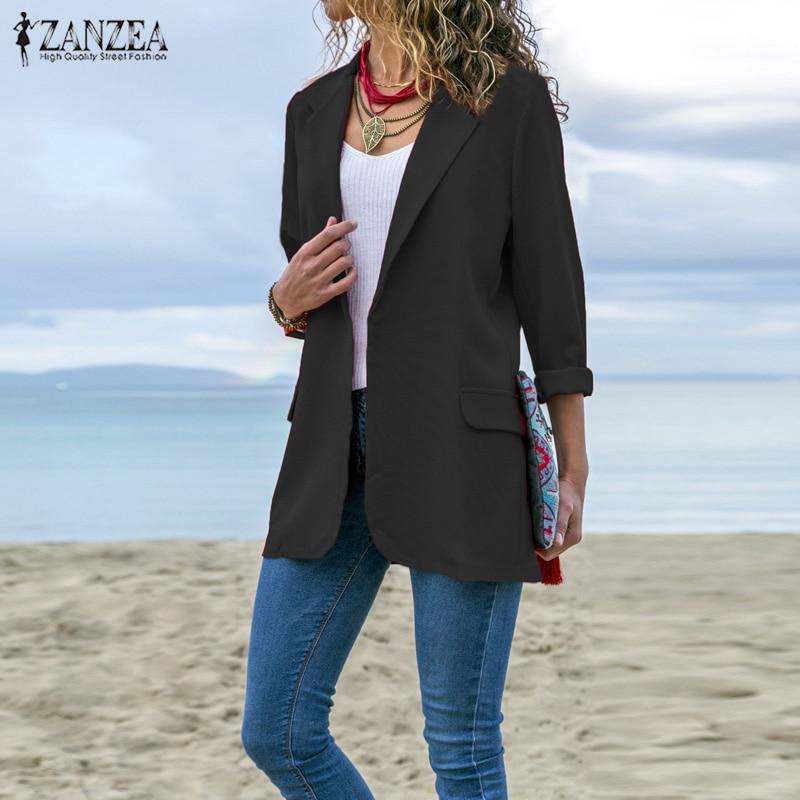 ZANZEA Women Casual Solid Lapel Neck Blazers 2019 Autumn Winter Coat Oversize Office Lady Business Blazer Outwear Womens Blazers