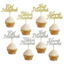 20pcs 3x5Inch Eid Cupcake Topper Nikkah Mubarak Eid Mubarak Hadj Mubarak Umrah Mubarak Cupcake Topper Voor eid al Fitr Decoratie