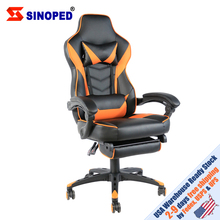 【SINOPED】C-type Foldable Nylon Foot Racing Chair with Footrest Black & Orange Free Shipping to USA