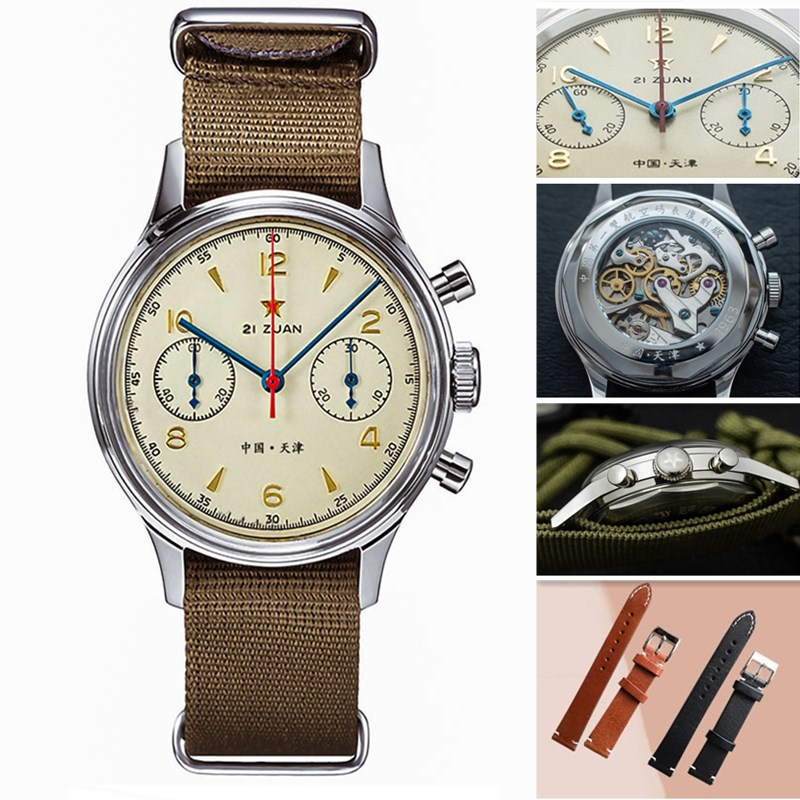 Fashion 38mm Men Chronograph Watches Sapphire Mechanical Hand Wind Seagull Movement Military Pilot Mens Chronograph Watch 1963