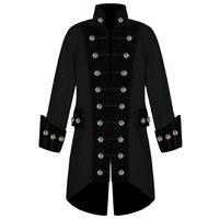 Oeak Pantchwork Men's Steampunk Long Jacket Men Buttons Long Sleeve Stand Collar Coat Vintage Tuxedo Outwear chaqueta hombre