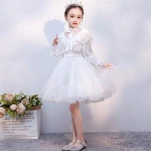 Image 4 - Детское платье принцессы для выпускного вечера, белое однотонное платье с длинным рукавом, на осень и зиму, 2019