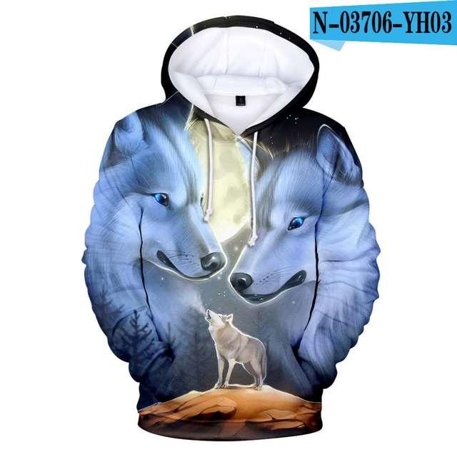 New Wolf 3D Printed Hoodies Men Women Boys Shinning Wolf Hoodie Sweatshirts Fashion Harajuku Jacket Coat Brand Clothing 5