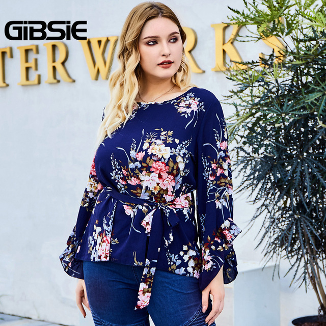 GIBSIE Floral Print Belted Women Tops and Blouses Plus Size Autumn Ladies Round Neck Flare Long Sleeve Holiday Blouse 2019