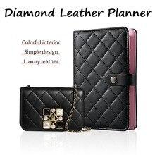 Diamant Überprüfen Leder Abdeckung Notebooks, Schwarz Ring Binder Tasche Nachfüllbar Tagebuch Kawaii Agenda Organizer A6 Planer Journal