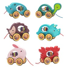 Baby Cartoon Animal Car Pull Rope Toys Drag Vehicles Rattles Educational Gifts 23GD