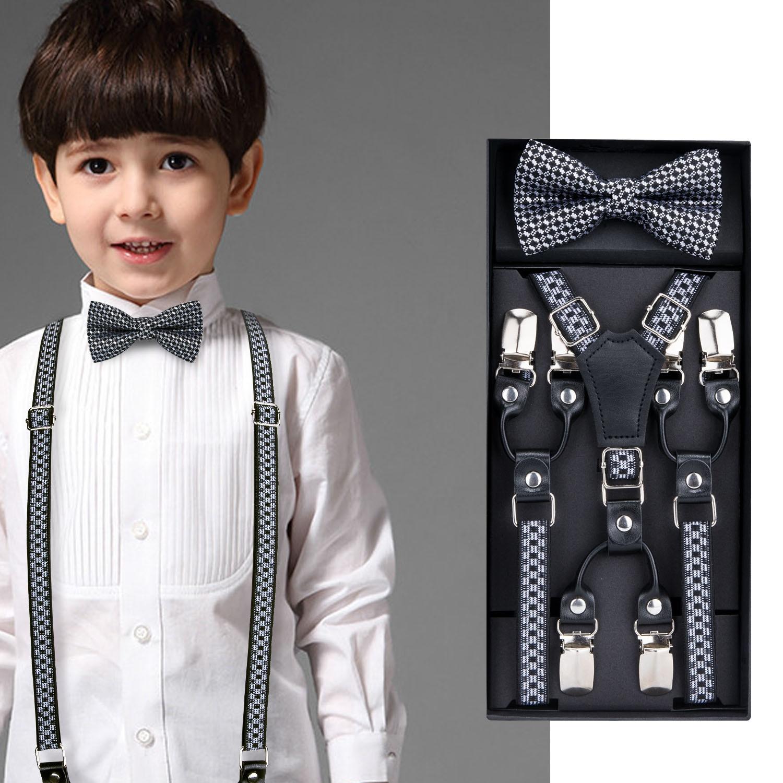Kids Suspenders Set Boys Girls Wedding Bow Tie Elastic Suspender Sets Children Adjustable Y-Back Brace Belt DH-023 DiBanGu