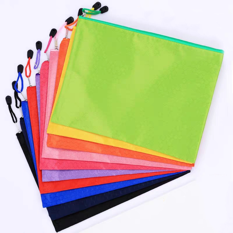 New 1PC Waterproof Big Capacity Canvas Thickened Zipper A4 A5 File Folder Bag Document Paper Organizer Storage Case Stationery