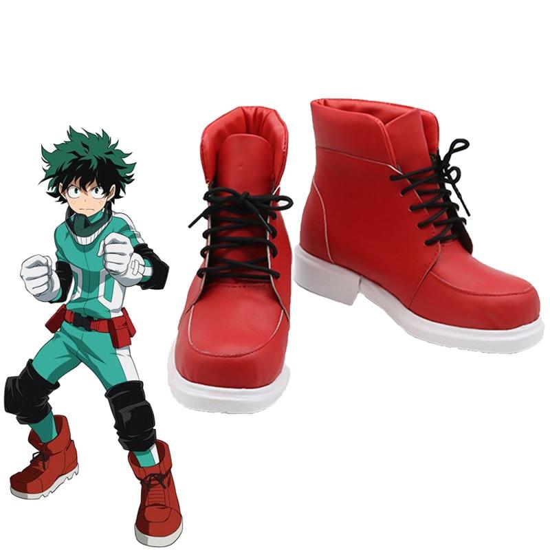 Costumebuy My Hero Academia Boku no Hero Akademia Deku Cosplay Izuku Midoriya Red Shoes Costume Boots Accessory Halloween Props