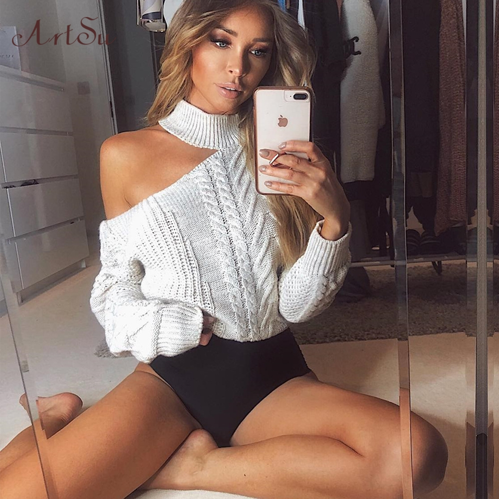 ArtSu Women's Sweaters 2019 New Casual Solid Loose Sweater Bare Shoulders Knitted Pullovers Winter Oversized Sweaters ASSW60310