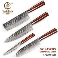 YARENH 4 Pcs Kitchen Knife Set, Professional Chef Knives Sets, Japanese Damascus Steel, Santoku Chef Nakiri Utility Knife Set