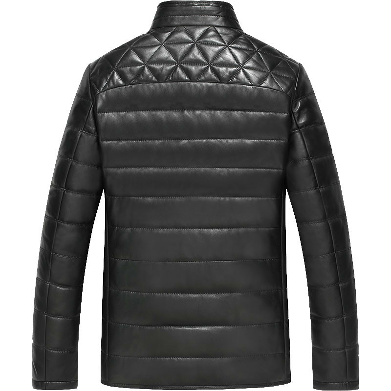 Genuine Leather Jacket Men Duck Down Jacket Mink Fur Collar Mens Sheepskin Coat Chaqueta Cuero Hombre D-129399 KJ1089