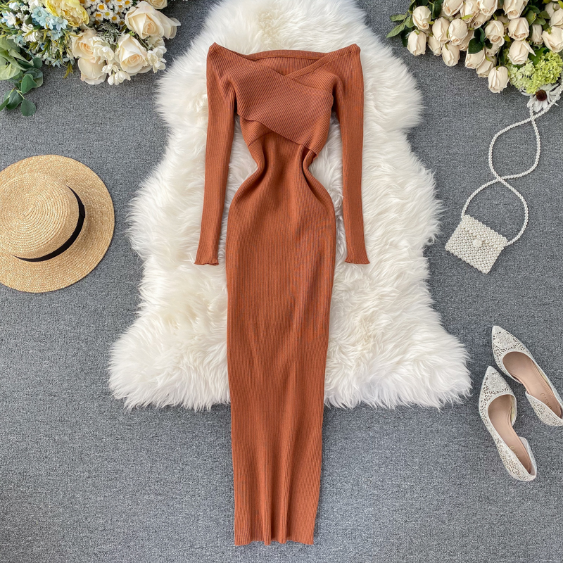 Slim 2020 Off Shoulder Cross Criss Autumn Knit Sweater Midi Long Dress Bodycon Party Winter Sexy Women Casual elegant Vestidos