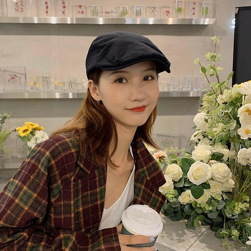 Шапка женская корейская модная универсальная японский художественный берет повседневные ретро шапки модная кепка газетчика художника