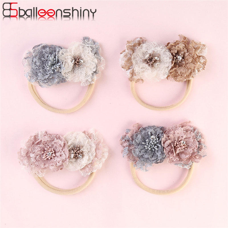 Balleenshiny Lace Color Matching Flower Baby Headband Super Soft Infant Baby Girl Hair Accessories Newborn Photography Props