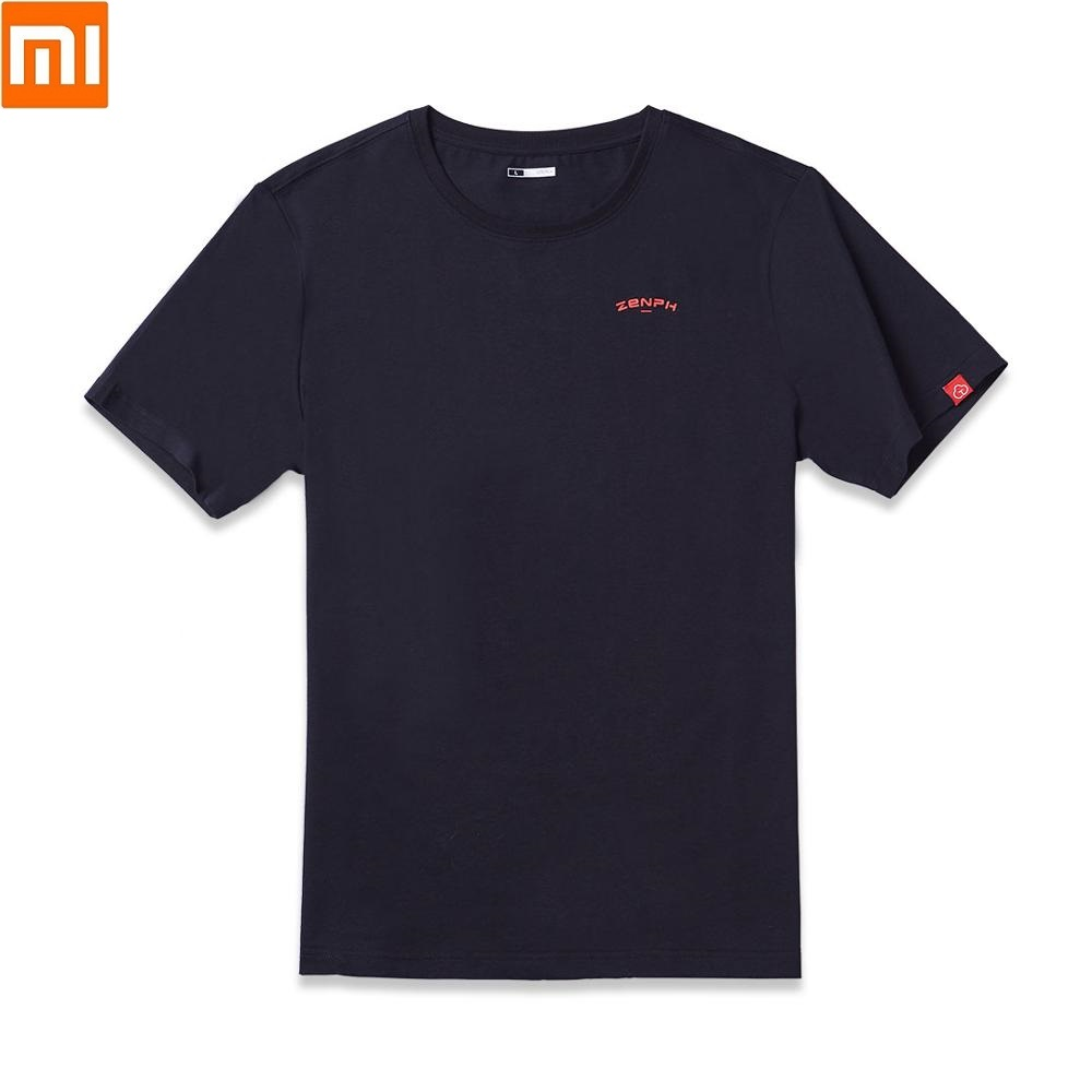 Xiaomi New Youpin ZENPH Man 100% Cotton T-shirt Silky Smooth Skin-friendly Breathable Summer Men Short Sleeve