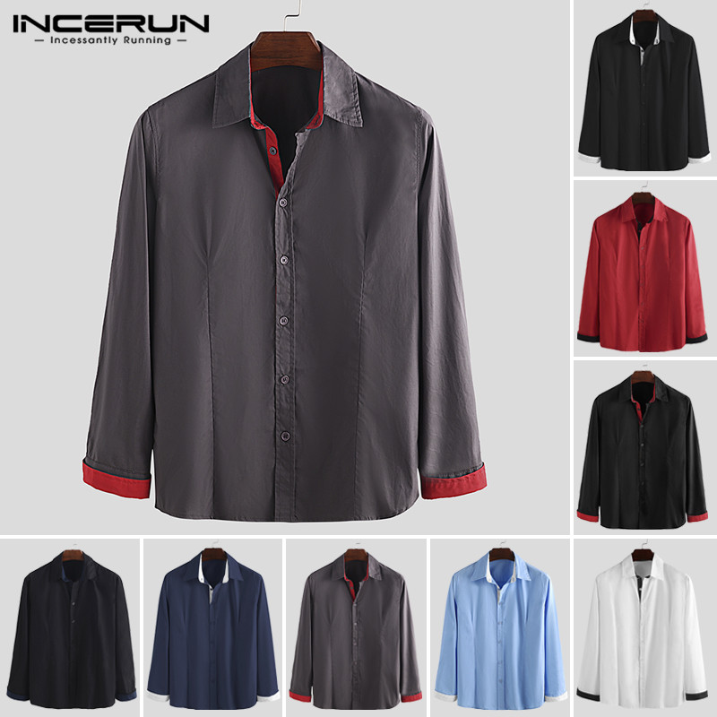 INCERUN Mens Dress Shirts Fashion Patchwork Long Sleeve Brand Lapel Button Business Socail Shirts Men Fitness Camisa Plus Size