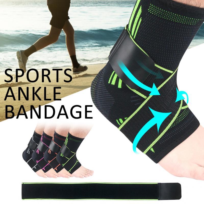 1 Uds protección de apoyo de tobillo para baloncesto fútbol tobillera deportiva de compresión correa de Nylon correa de tobillo Protector vendaje