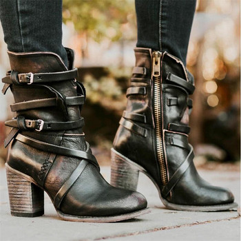 Fashion Punk Gothic Style Buckle Strap Round Toe Boots Women Shoes Zipper Boots Street haulage motor mujer zapatos 2016 real image camouflage fashion boots cheap custom made high thin heels buckle strap zapatos mujer botas mujer ankle boots