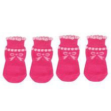 BMBY-собака щенок собака Bowknot хлопковые носки противоскользящие Paw пленки 4 шт./компл. M Розовый